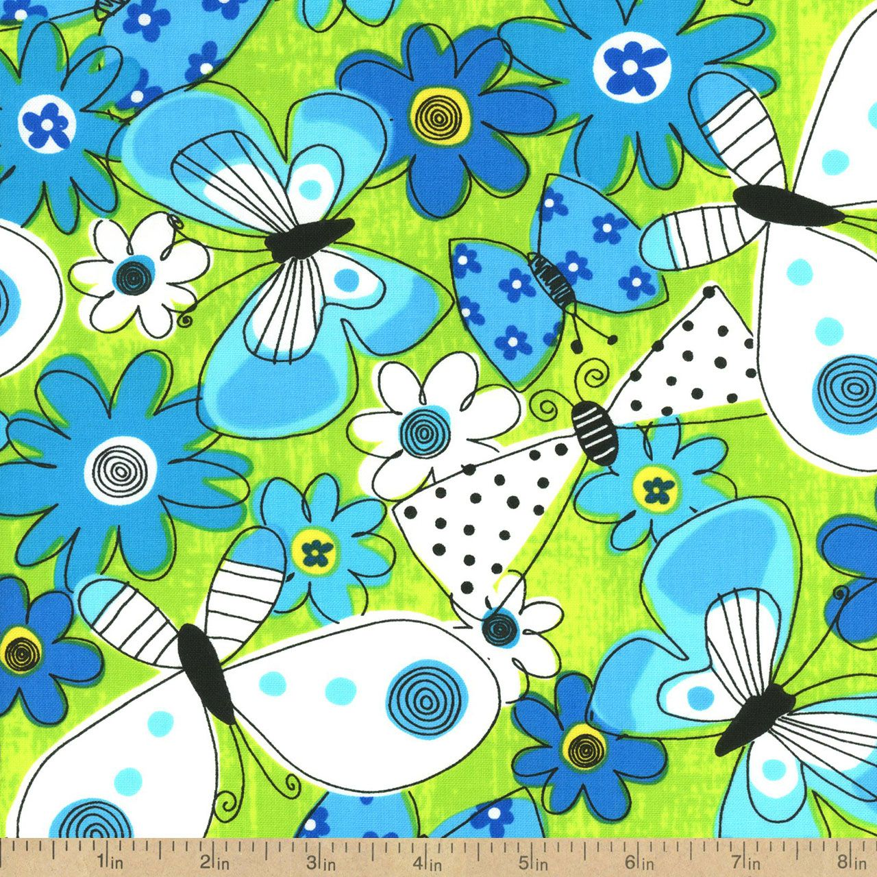 What a Whirl Butterfly Whirl Cotton Fabric - Lime by Beverlys.com