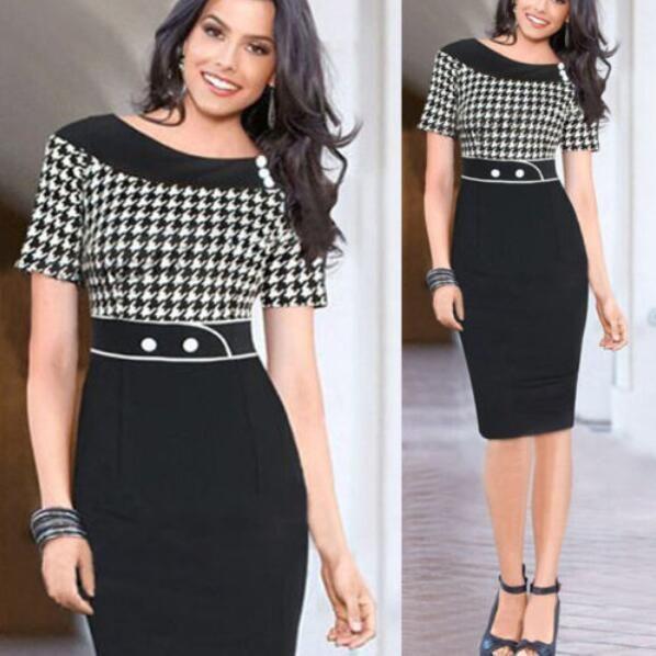 157343adf1 New Women Short Sleeve Slim Polka Dots Bodycon Pencil Office Dress Knee- Length Casual Dresses(China (Mainland))