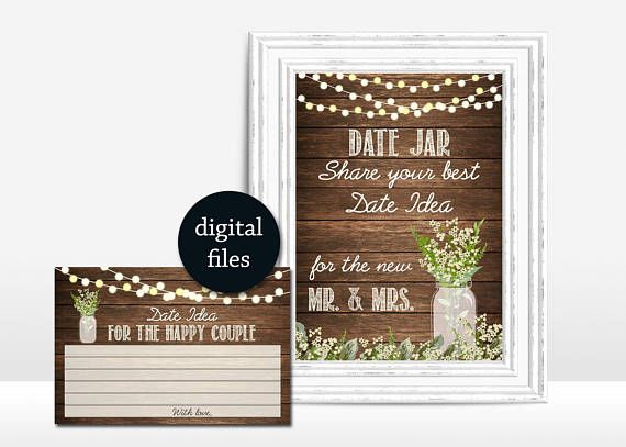 Date Jar Game Printable Rustic date jar Sign Bridal shower Rustic - program proposal template