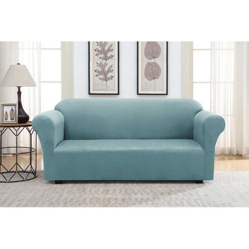 Solid Suede Box Cushion Sofa Slipcover In 2020 Cushions On Sofa Suede Sofa Slipcovers