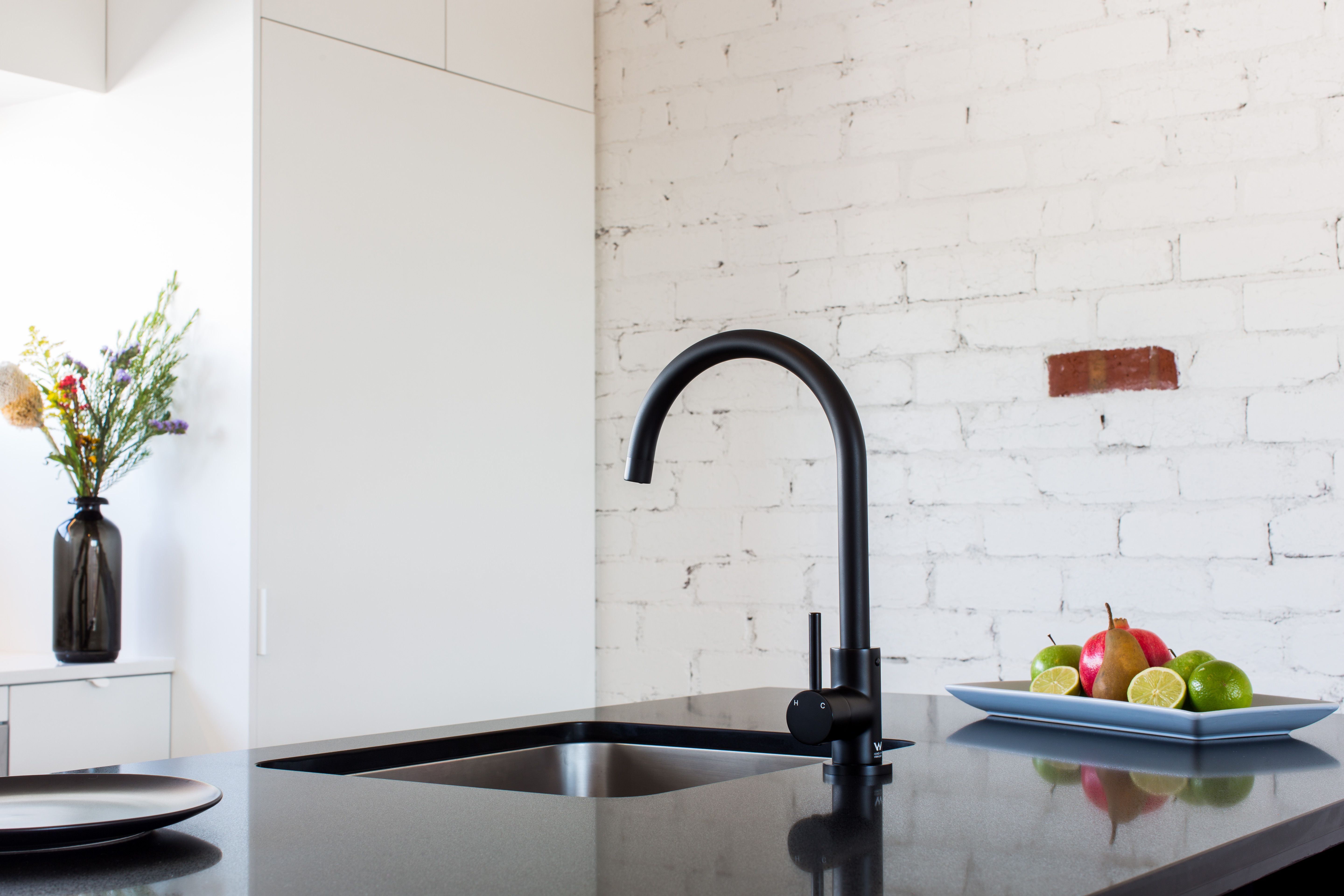 Meir's Round Matte Black Kitchen Mixer. For more, visit