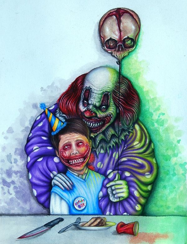 AP Studio Art Concentration Portfolio (Phobias) | clowns in