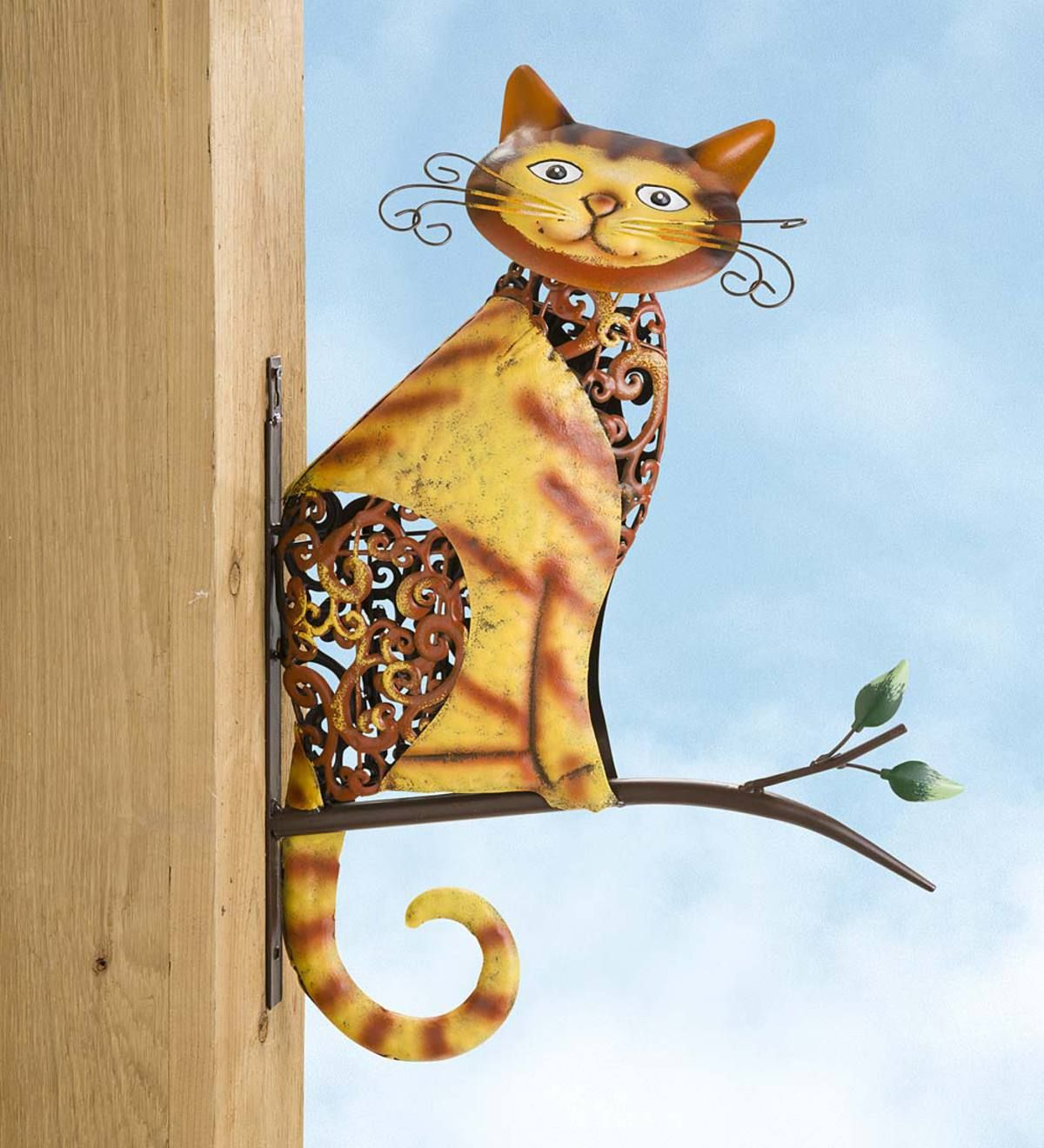 One Friendly Feline Perches On A Branch In Our Metal Tabby Cat On A Branch Wall Art This Adorable Ginger Kitty Is Crafted From Painted Metal Bird Statues Cat Wall Art