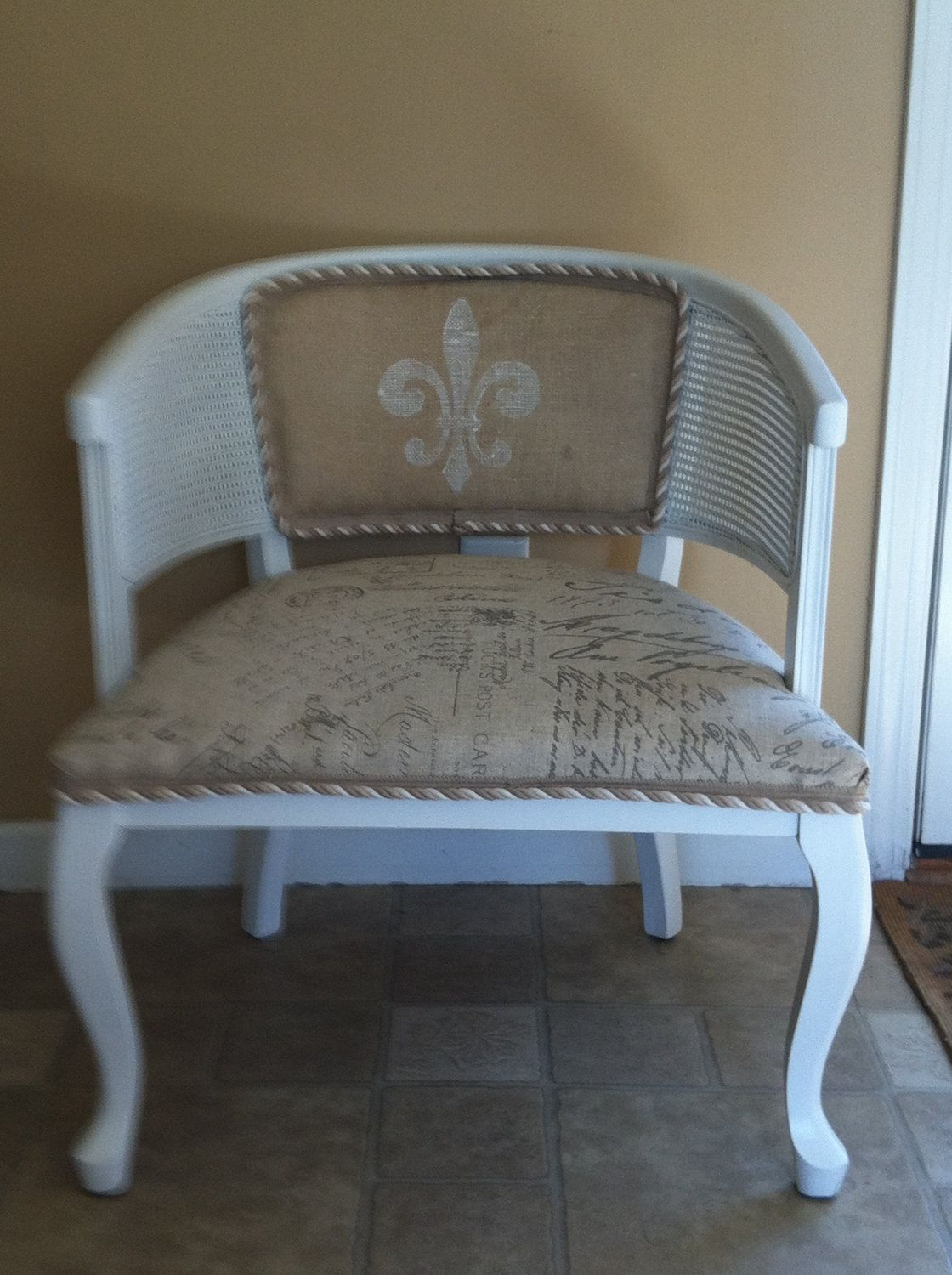 Vintage French Cane Back Barrel Chair  Love The Twisted Braid Edging With  The Combo Patterned