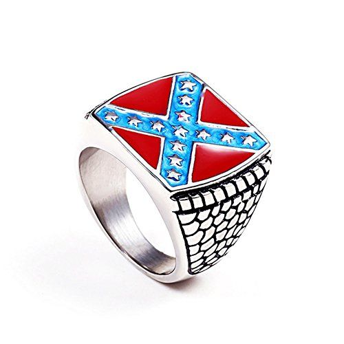 Qiao La Men S Stainless Steel Crusader American Flag Cros Stainless Steel Rings Steel Ring Art Ring