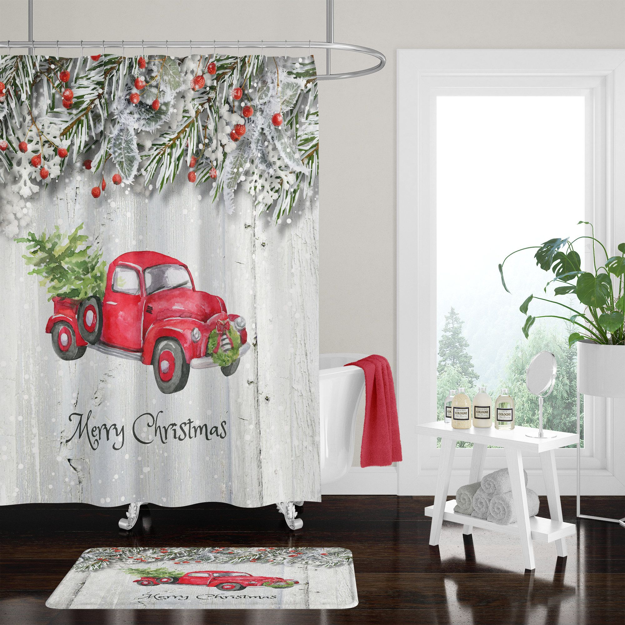 Christmas Red Truck With Tree Shower Curtain Bath Mat Towels Pine