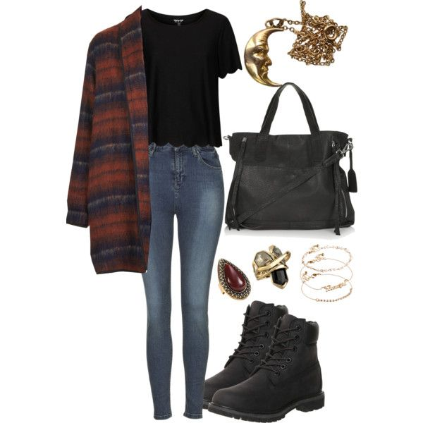 Untitled #299 by effyfashion on Polyvore featuring Topshop, Timberland, Alexis Bittar, Samantha Wills, ASOS, Fall, casual, Boots, jeans and coat