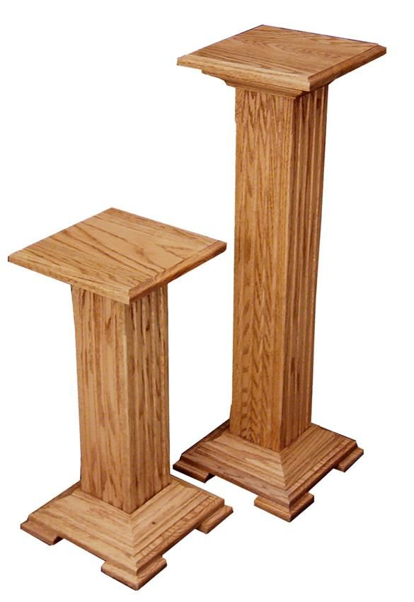 Select Large Or Small And Oak Or Cherry Wood For The Hardwood Pedestal Plant  Stand From DutchCrafters.