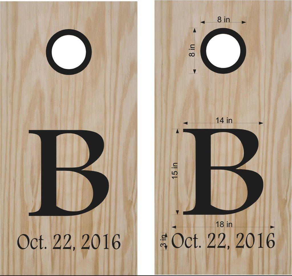 Monogram Wedding Date Cornhole Board Vinyl Decal Sticker Graphic - Custom vinyl decals for wood