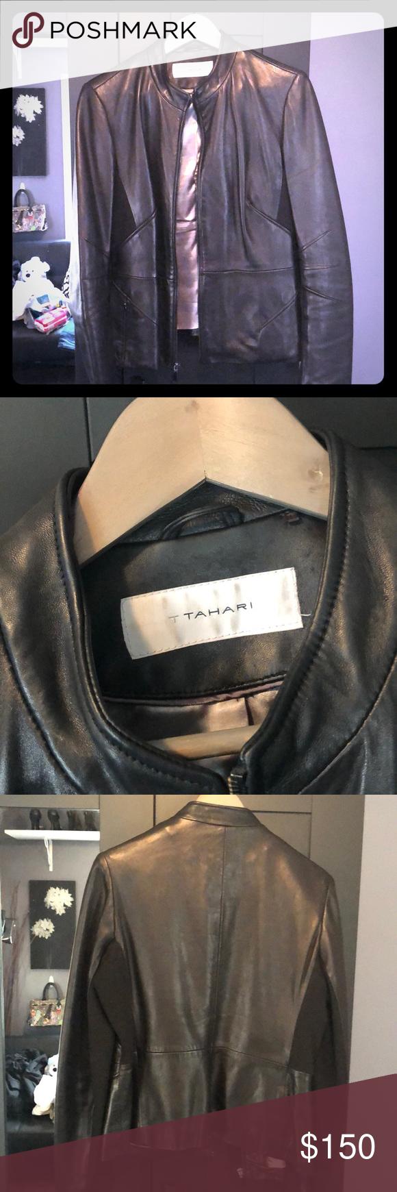 Tahari Leather Jacket Euc Black Butter Soft Leather Two Zipper Pockets Tahari Jackets Coats Leather Jacket Jackets Clothes Design [ 1740 x 580 Pixel ]