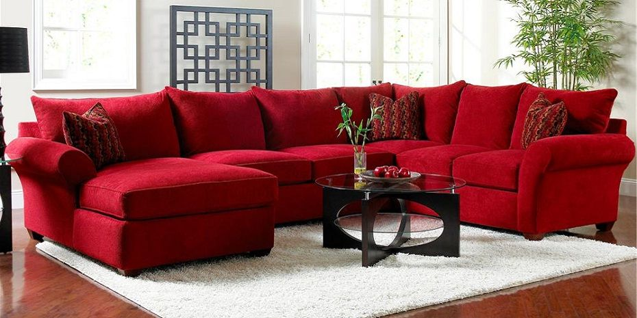 Red Velvet Sectional Sofa With Chaise Sectional Sofa With Chaise
