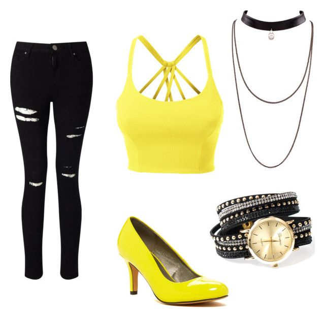 """Black & yellow"" by nicoline1petersen on Polyvore featuring LE3NO, Miss Selfridge and Michael Antonio"