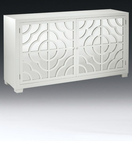 Mirrored Furniture   Mirrored Credenza With Lacquered White Finish And Two  Doors With Mirrored Panels