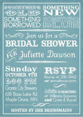 print your own something blue bridal shower invitations on ebay