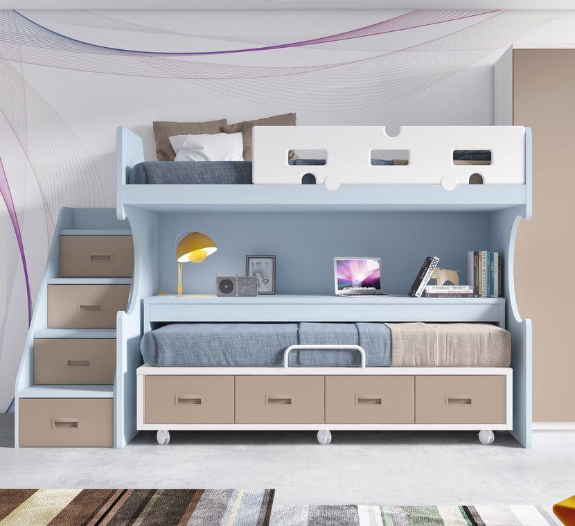 Literas fijas litera fija con mesa extraible cama - Literas juveniles modernas ...