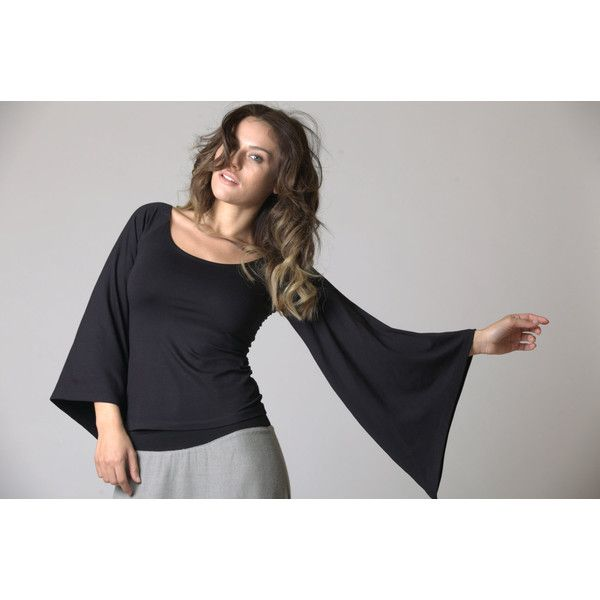 Batwing Shirt Batwing Sleeves Black Top mt211 ($71) via Polyvore featuring tops, black, blouses, women's clothing, relax shirt, relaxed fit tops, bat sleeve tops, batwing tops and batwing shirt