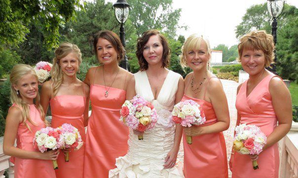 Aria Bridesmaid Dresses in Salmon Duchess Satin. Made in USA ...