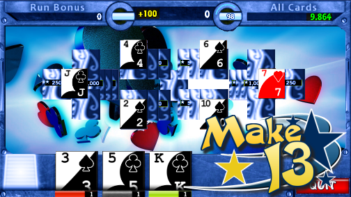 Make 13 Tournament style Pyramid Solitaire. Clear the