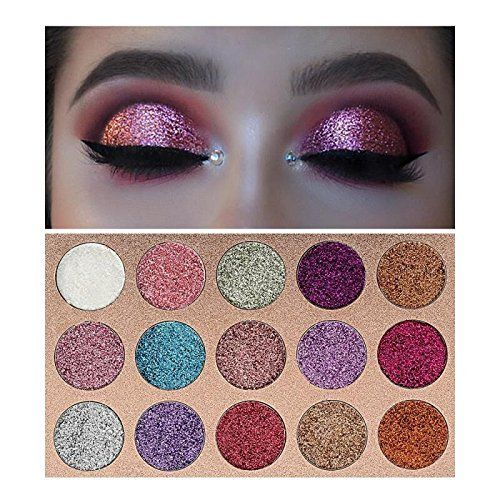 Beauty Glzaed 15 Colors Glitter Make-up Powder Metallic Shimmer Eye Shadow Palette Highly Pigmented Mineral Cosmetic Makeup Eyeshadow #mineralcosmetics