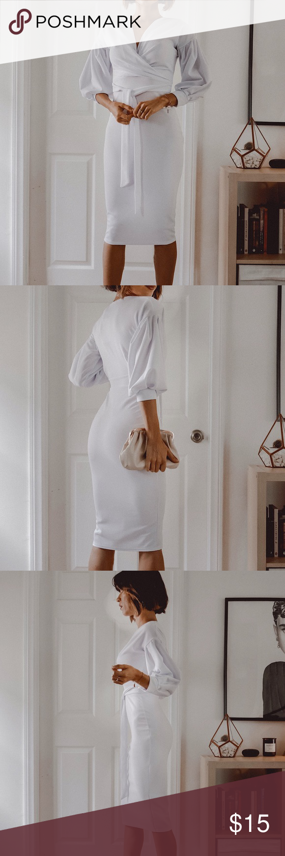 White Body Con Dress By Femmelux New In Perfect Condition Stretchy Has Belt Dresses Midi White Bodies Bodycon Dress Bodycon [ 1740 x 580 Pixel ]