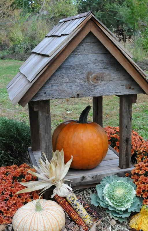 Birdhouse With Gourds And Pumpkins A Good Fall Outdoor Vignette