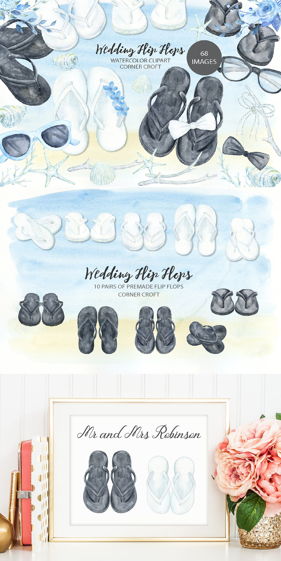 f49b352ae Watercolor wedding flip flops collection