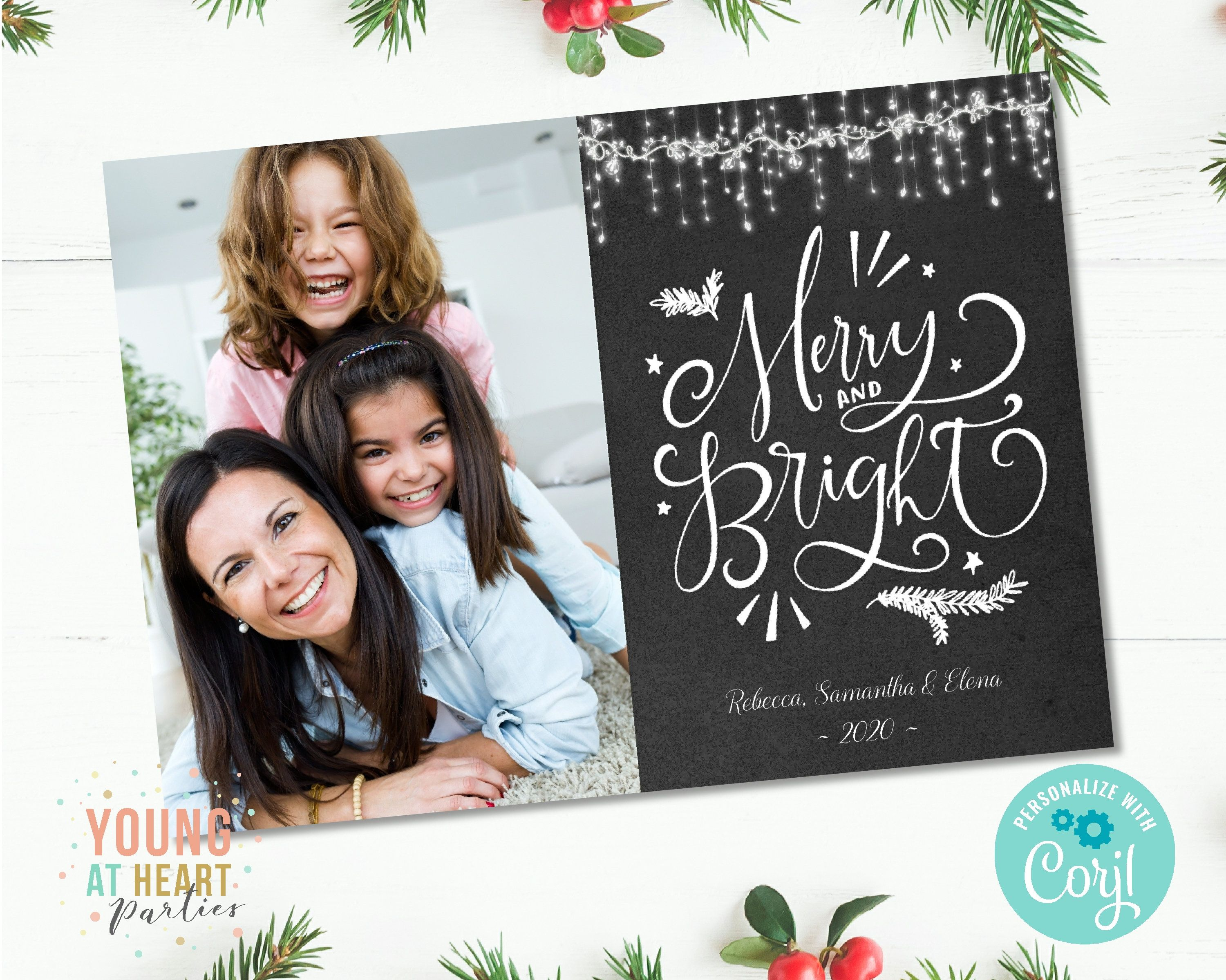 Merry And Bright Christmas Card Christmas Photo Card Etsy Christmas Photo Cards Christmas Photo Card Template Holiday Photo Cards