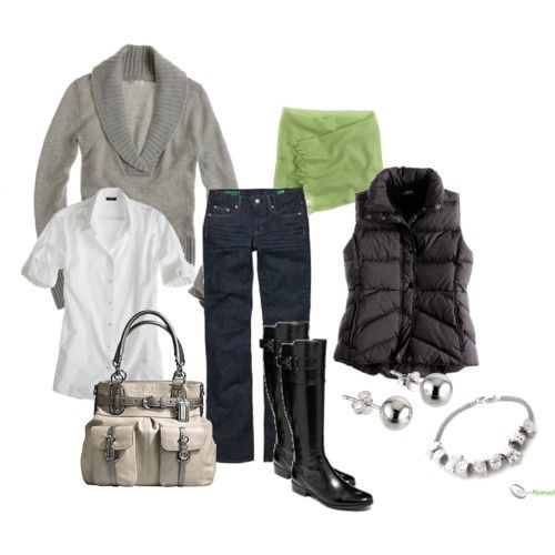 love the neutral layers with that green pop of color in the scarf.