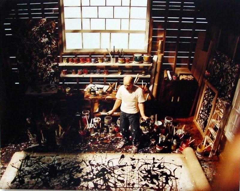"Painter Jackson Pollock, master of chaos, ""creating"" in his Springs studio, East Hampton, NY"