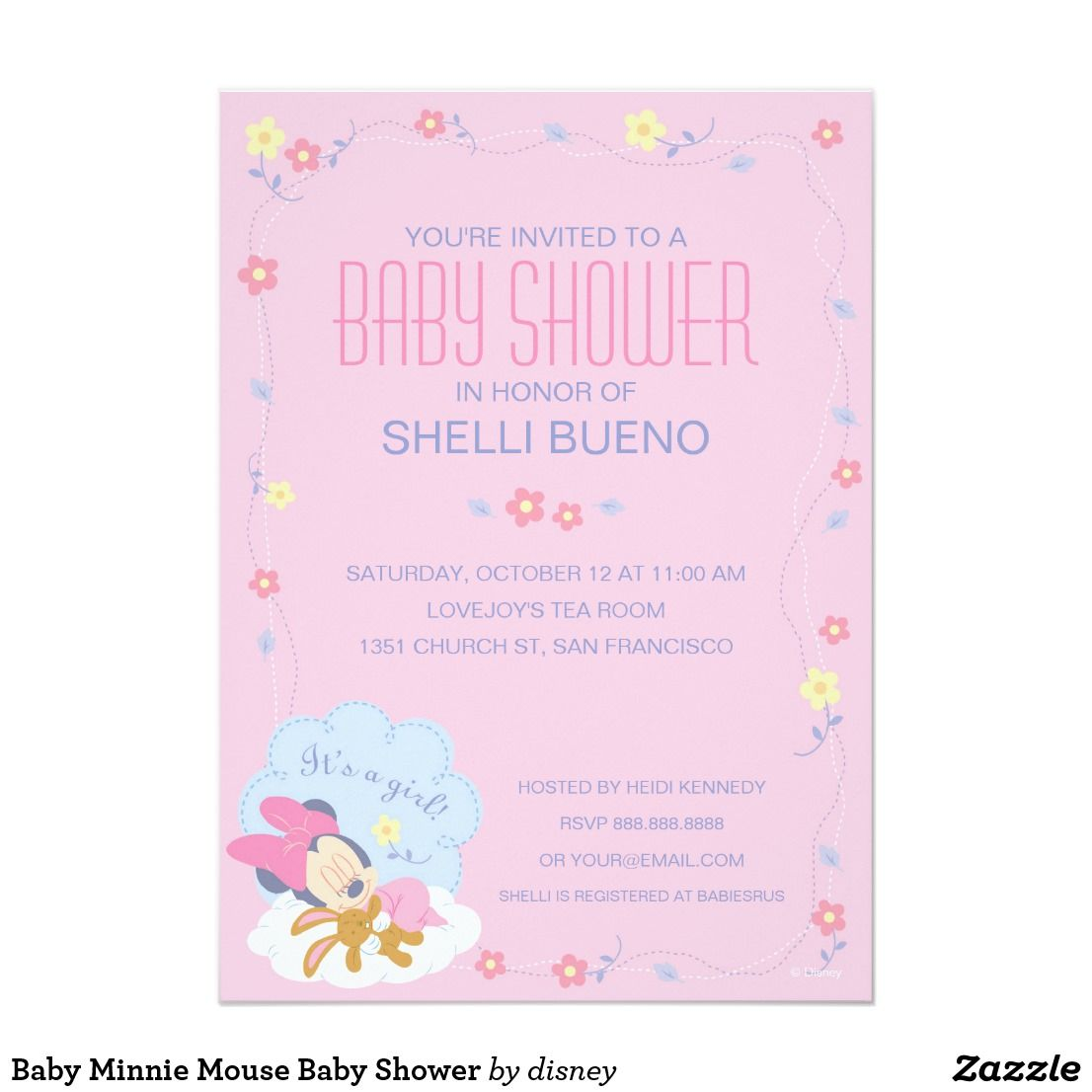 Baby Minnie Mouse Baby Shower Card | Minnie mouse baby shower and ...
