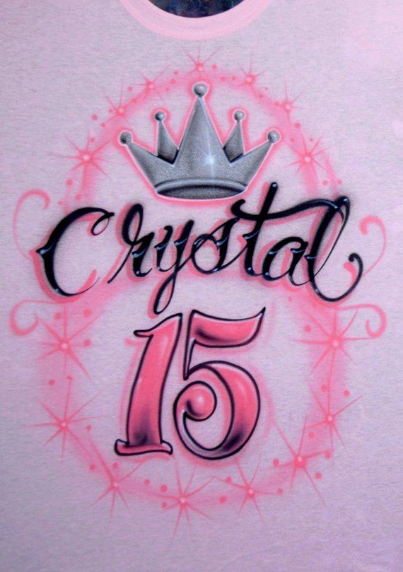 3ed368c5 Airbrushed Shirt Quinceanera Queen Crown Tat Script 15 15th Blush Pink  Salmon Quince Squad Custom Ai