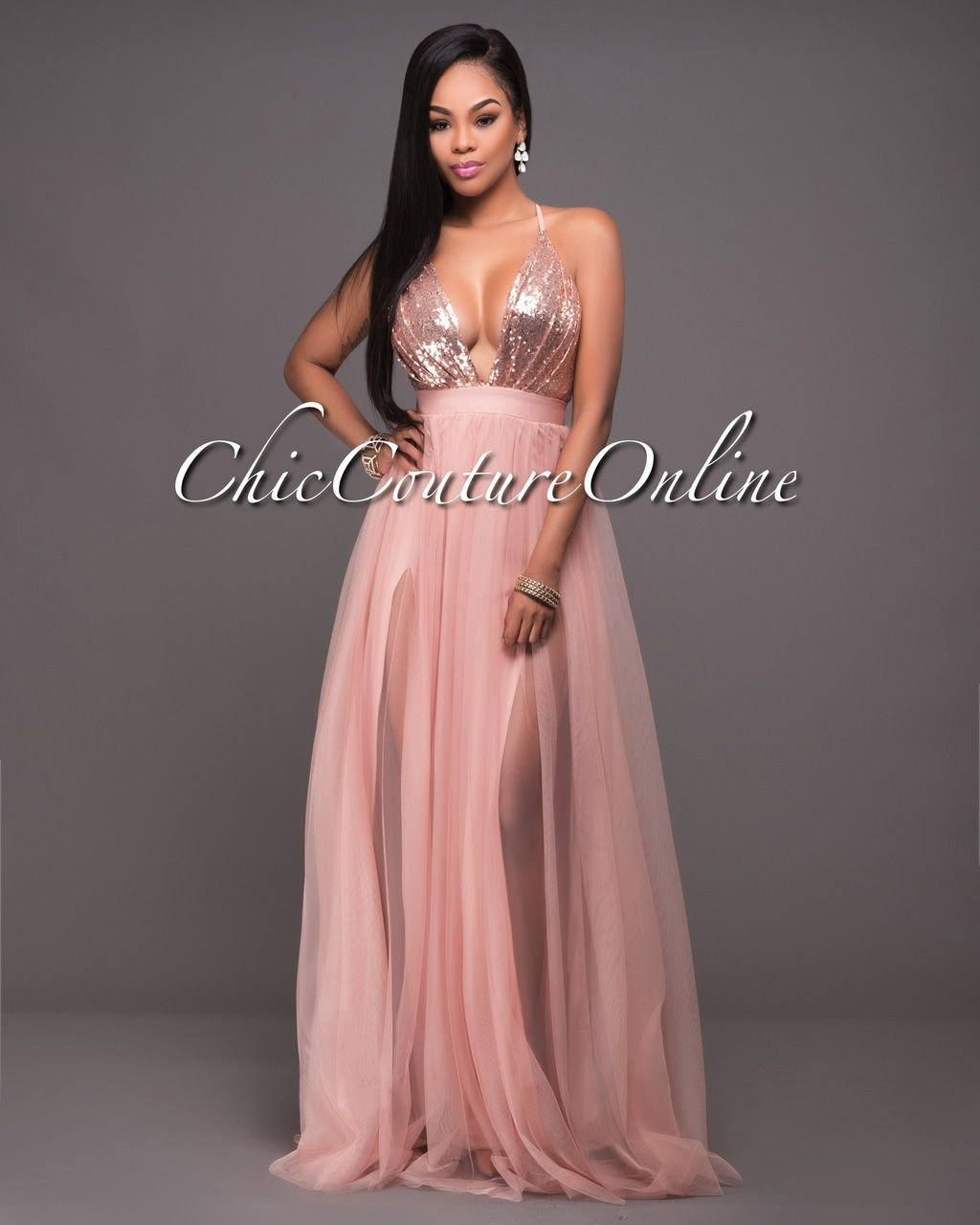 Paloma Blush Tulle Rose Gold Sequins Maxi Dress
