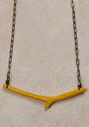 4975d69b20ca painted twig necklace. yellow! Collares