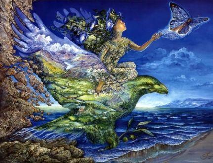 Josephine Wall Art - Art, Josephine Wall, Eagle, Butterfly, Bird, Woman, Water, Ocean, Wing, Blue