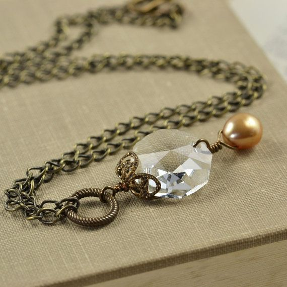 Vintage Glass Brass Necklace Chandelier Crystal Pearl Necklace - Chandelier crystals for crafts