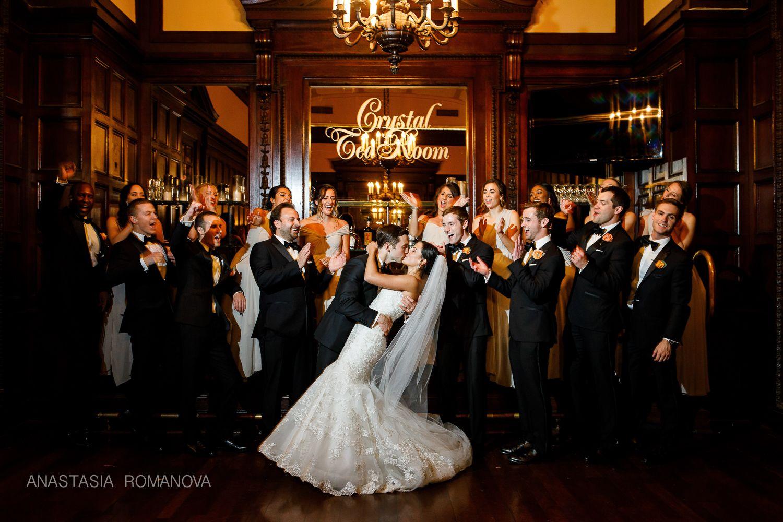 Crystal Tea Room Philadelphia Wedding Photos Of The Bride And Groom In Empty Reception Anastasia Romanova Photography Finley