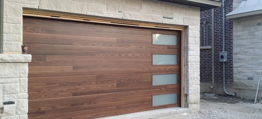 Modern Garage Door Fibergl Wood Grain With 4 Frosted Lite Installed In Thornhill By Doors Ca