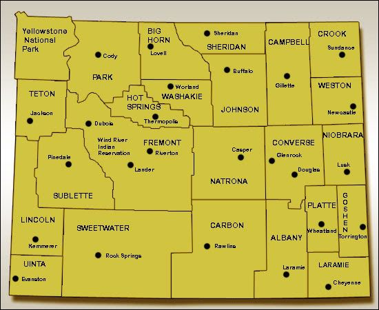 Wyoming Map Printable Wyoming Map Printable For Reference - Map of wyoming cities