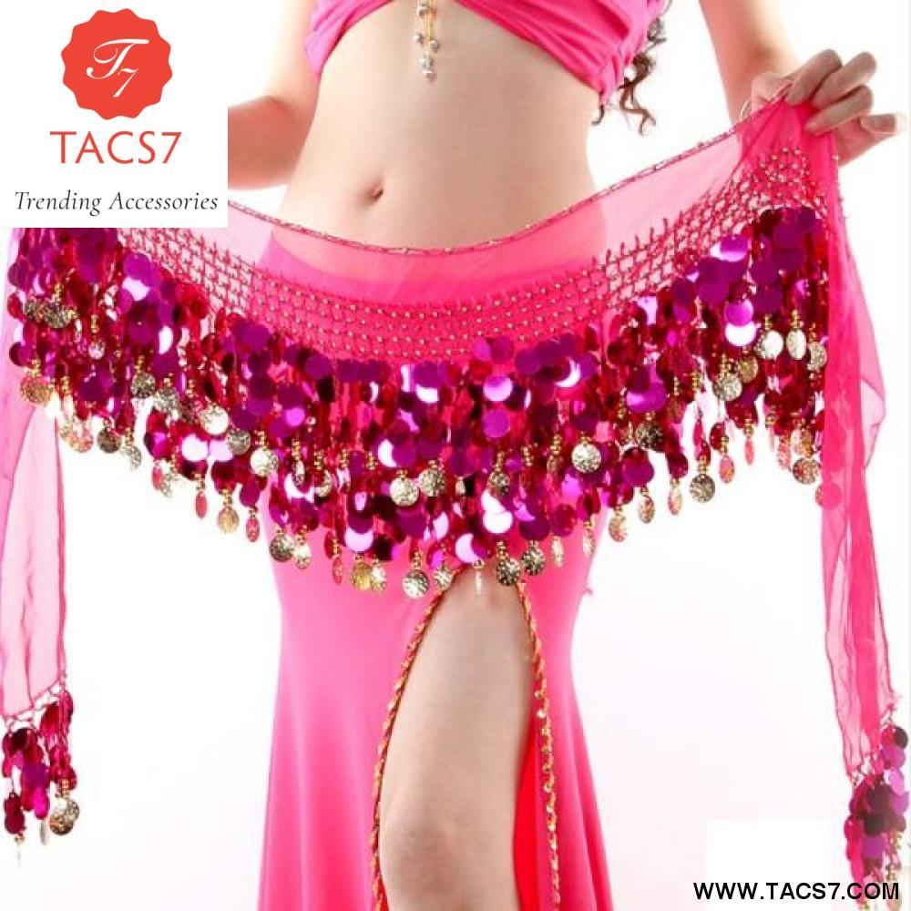 Coins Belly Dance Waist Costume Belt Chiffon Dangling Belly Dance Hip Scarf