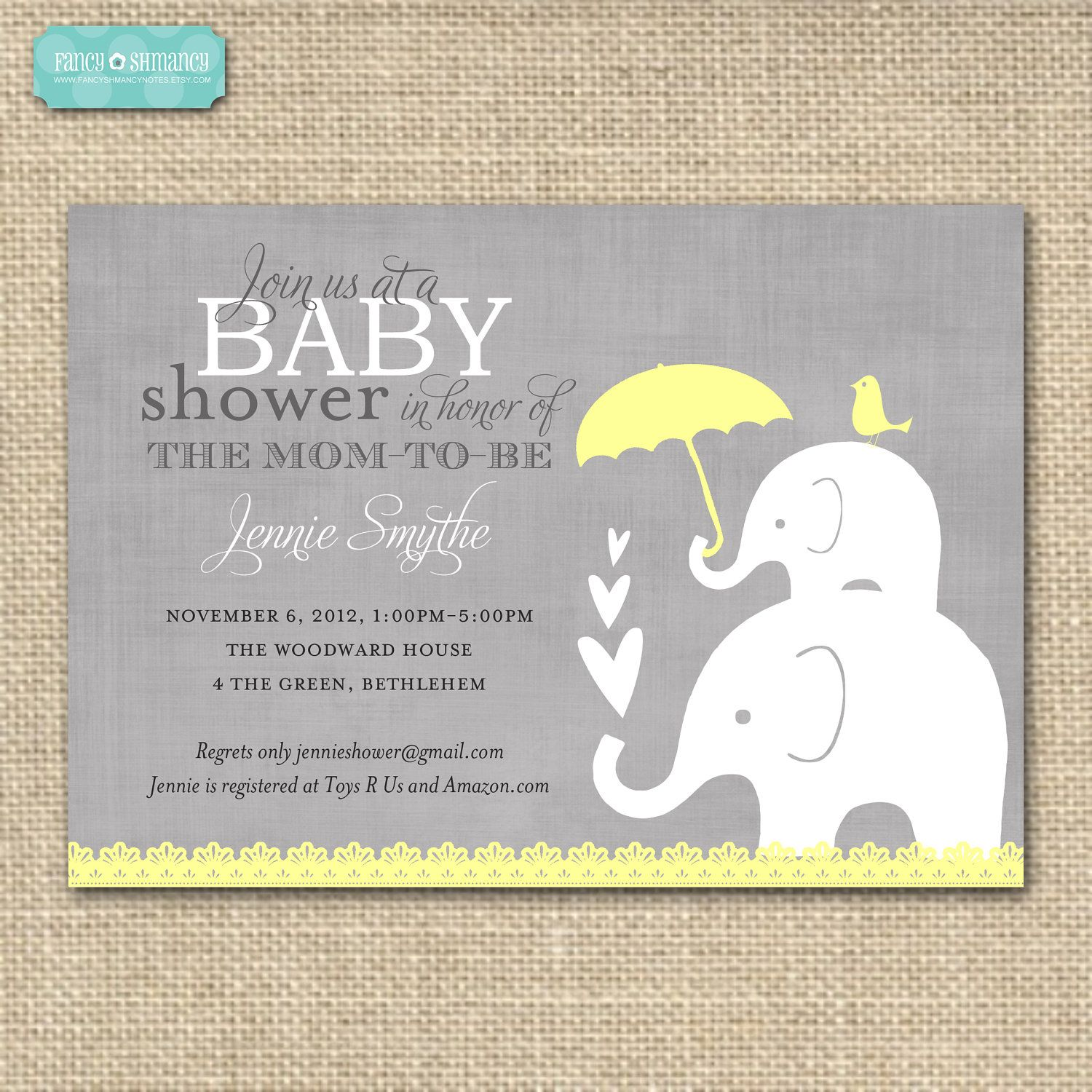 editable baby shower invitation, yellow and grey elephant gender, Baby shower invitations