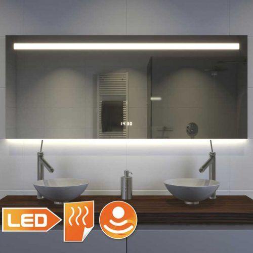 Badkamerspiegel met LED verlichting, verwarming, klok ...