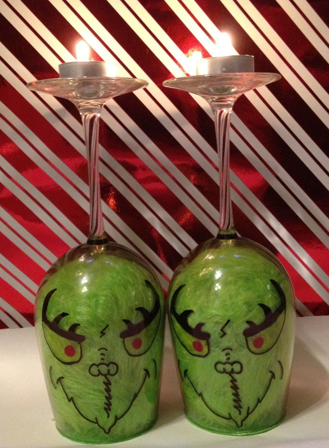 Pair Of Grinch Wine Glass Candle Holders.