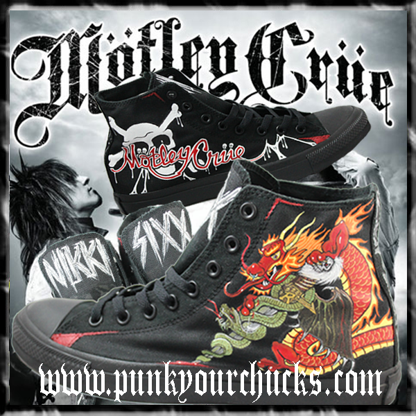 d54c6bf7b583 Custom MOTLEY CRUE Chucks made exclusively for Nikki Sixx by MAG from Punk  Your Chucks!!!