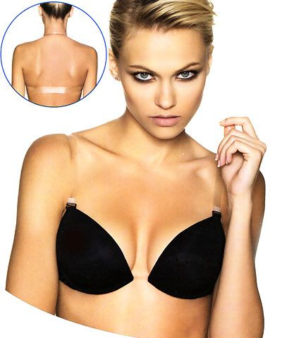 Clear center clear back Light Gel Push Up bra - Miracle Invisible ...