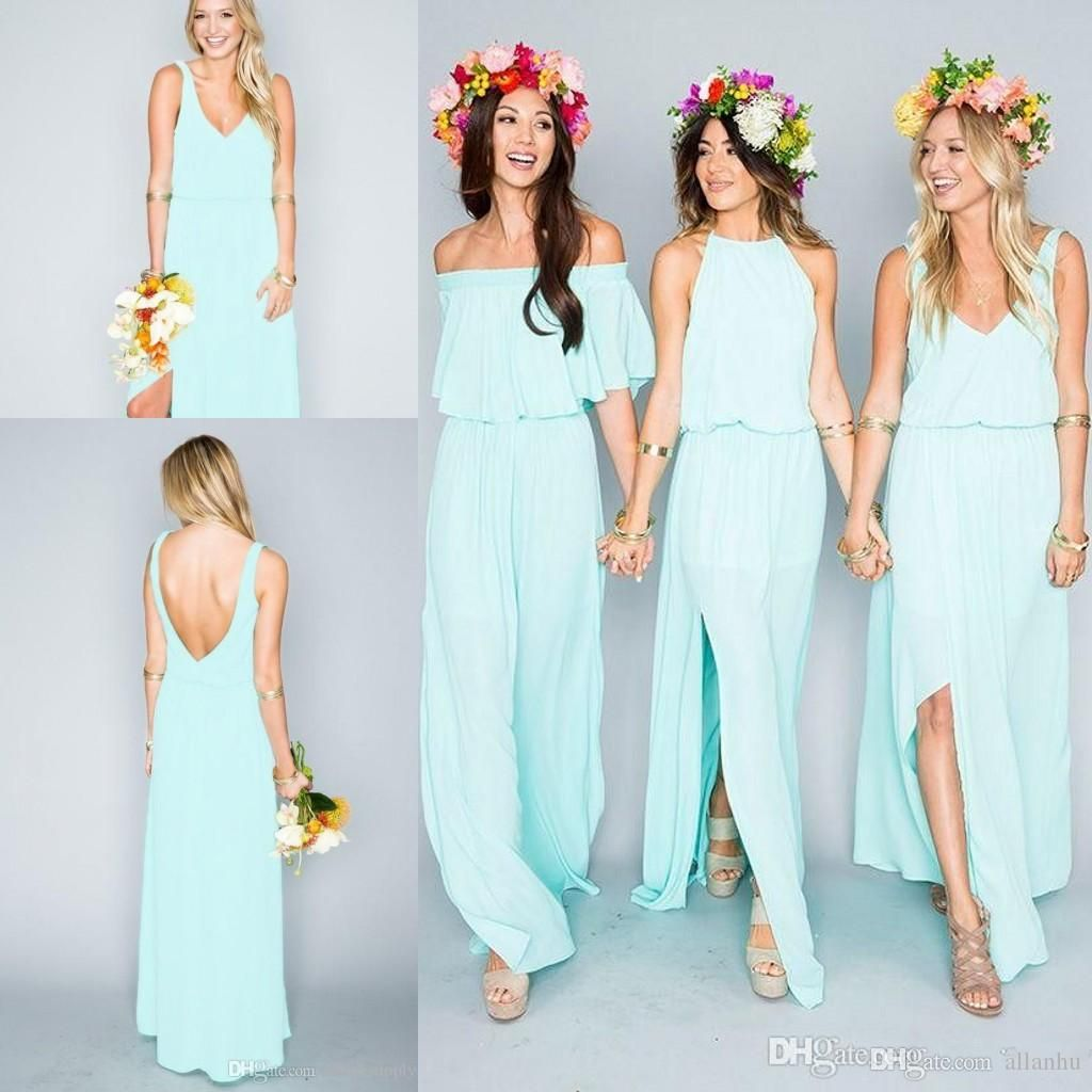 Summer Beach Bohemian Mint Green Bridesmaid Dresses 2016 Mixed Style Flow Chiffon Side Split Boho Custom