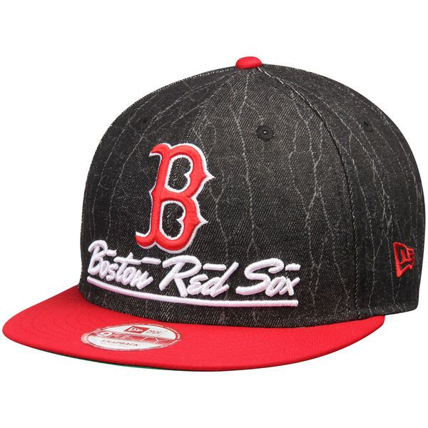 Men's Boston Red Sox New Era Black/Red Lightning Strike 9FIFTY Snapback  Adjustable Hat,