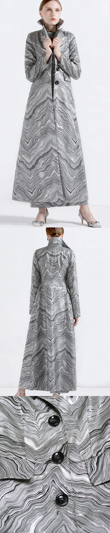 women elegant cotton blended long coats striped lapel collar