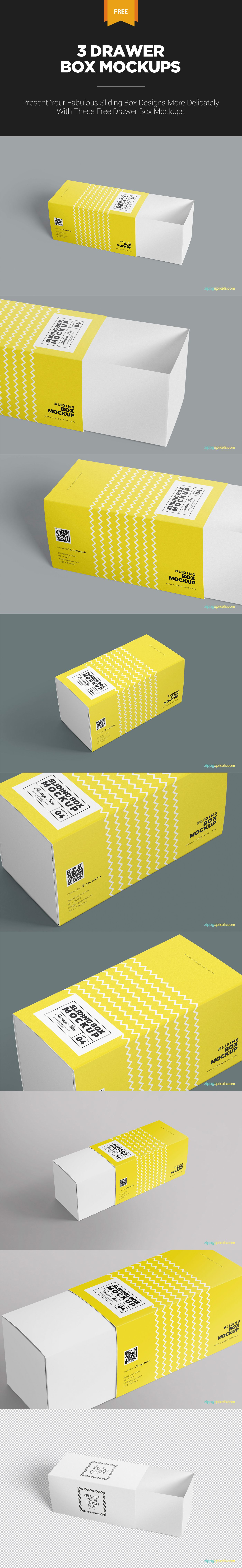 Download 3 Free Cardboard Drawer Box Mockups Zippypixels Box Mockup Slide Box Mockup