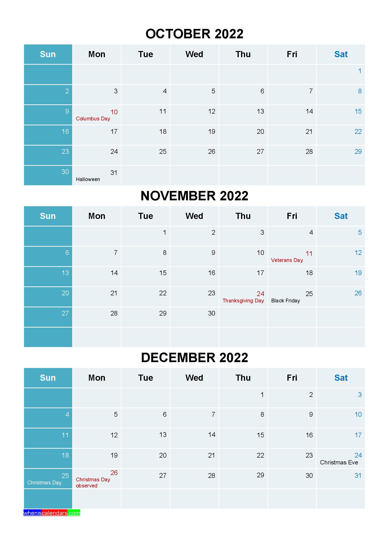 October November December 2022 Calendar With Holidays Printable Four Quarters Calendar Printables Quarterly Calendar Calendar Template
