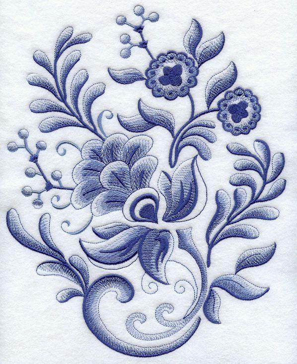 Delft blue flower fiesta arts crafts cloth